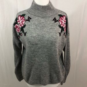 New Look Rose Embroidered Sweater, Size XS, Gray